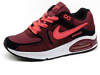 Кроссовки Nike Air Max 90,унисекс, пресскожа/ нубук, бордовые, фото 1