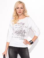 Женская блуза из вискозы белого цвета с абстрактным рисунком. Модель Elbren Zaps