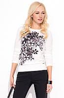 Женская кофточка с длинным рукавом молочного цвета со стильным цветочным рисунком. Модель Lana Zaps