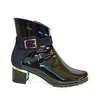 Стильные женские зимние ботинки, из лаковой синей кожи, декорированы стразами., фото 1