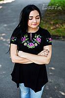 Жіноча туніка - Маки фіолет - короткий рукав