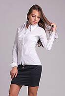 Стильная белая женская рубашка на пуговицах, фото 1