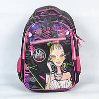 """Красивый школьный рюкзак """"Gorangd"""" для девочки, с девушкой - Код 1501 (чорный/розовый)"""