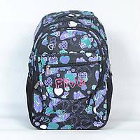"""Необычный школьный рюкзак """"Fiveclubs"""" для девочки - Код L-138#A (черный/синий)"""