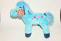 Лошадь мягкая игрушка 0343, муз, 27-29-12 см голубая