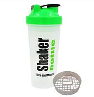 Шейкер для спортивного питания Smart Shake  FI-4446 (TS1236) (пластик, 600мл, белый-зеленый)