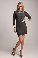 Уютное мини-платье с украшенной горловиной, фото 1