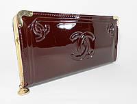 Клатч лаковый женский бордовый Сhanel 840-1