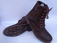 Польские зимние мужские ботинки фабрики ''Krisbut'' с натуральным мехом шоколадного цвета