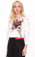 Женская блуза из вискозы молочного цвета с рисунком. Модель Sheila Zaps.