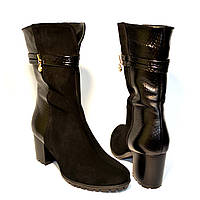 "Ботинки женские зимние на устойчивом каблуке в классическом стиле.ТМ ""Maestro"""