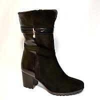 Ботинки женские зимние на устойчивом каблуке в классическом стиле