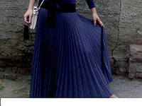 Плиссированная юбка в пол осень-весна тёмно-серый меланж