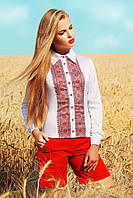 Блуза-Вышиванка Белая Длинный Рукав