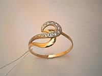 Золотое женское кольцо 585 пробы с цирконием