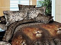 Полуторное постельное белье бязь Ранфорс - Лев царь зверей 3D