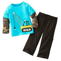 """Детский костюм для мальчика трикотажный/длинный рукав """"Подъёмный кран"""" /рост 80-86см 9-12мес;3-4 года 98-104см"""