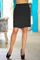 Деловая женская юбка-карандаш до колена черный цвет р.M