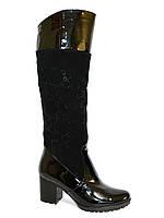 Женские высокие сапоги на меху, натуральный замш+лак, декорированы стразами, фото 1