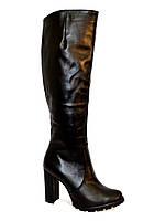 Женские стильные зимние сапоги кожаные на высоком каблуке.