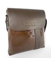 Сумка мужская, планшет Gucci 3814 темно-коричневый, эко-кожа, 23*24 см