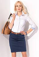 Женская юбка-карандаш синего цвета из коттона. Модель Kira Zaps