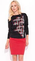 Женская юбка-карандаш красного цвета из коттона. Модель Kira Zaps