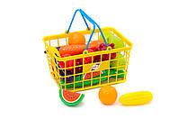 Игровой набор УРОЖАЙ - игрушечная корзина с овощами и фруктами 24 предмета.