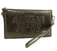Клатч мужской большой кожаный Armani Jeans 921-3 черный, сумка мужская