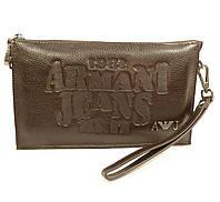 Клатч мужской большой кожаный Armani Jeans 921-3 коричневый, сумка мужская