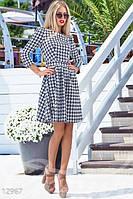 Модное женское платье приталенное с расклешенной юбкой застежка молния жаккард стрейч