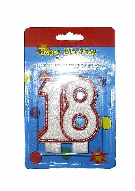 """Свеча в торт """"18"""" юбилейная с блестками"""