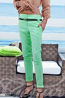 Женские брюки прямые укороченные свободные с поясом коттон