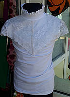 Блузка белая трикотажная гипюровая накидка