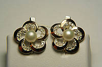 Серебряные серьги с жемчугом в форме цветка