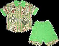 Детский летний костюмчик, рубашка с коротким рукавом и шортики, хлопок (кулир), ТМ Малыш, р. 104, 110, Украина