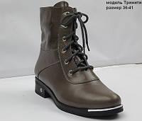 Женские коричневые кожаные осенние ботинки на широком каблуке.
