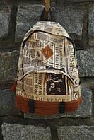 Повседневный рюкзак для девочек с газетным принтом