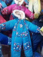 Детские зимние комбинезоны -трансформеры Снеговик на овчине с помпоном от 0 до 2 лет S411