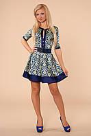 Оригинальное платье из сатина с принтом, юбка клеш, рукав до локтя, с поясом, тёмно-синий в принт барокко