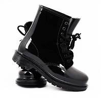 Женские модные резиновые ботиночки на шнуровке