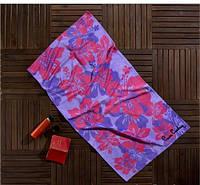 Полотенце пляжное Pierre Cardin сиреневое с розовыми цветами 75х150 см
