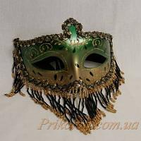 Венецианская маска с бисером, зеленая