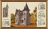 Набор для вышивания крестиком с фоновым рисунком Загородный дом