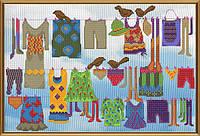 Набор для вышивания крестиком с фоновым рисунком Большая стирка