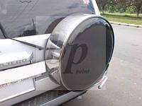 Чехол запасного колеса (колпак запаски) хром Mitsubishi pajero wagon III (митсубиси паджеро вагон 3) 1999-2006