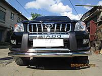 Защита переднего бампера (двойной ус/губа) Toyota land cruiser 120 Prado (тойота ленд крузер прадо 2002-2009)