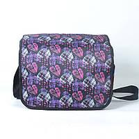 Модная молодёжная сумка через плече для девочки - Код П02 - черная/сердца