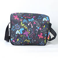 Модная молодёжная сумка через плече для девочки - Код П02 - черная/бабочки