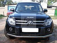 Защита переднего бампера (одинарный ус/губа) Mitsubishi pajero wagon IV (митсубиси паджеро вагон 4) 2005г+